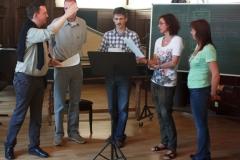 Pierre Funck unterrichtet improvisierte Vokalpolyphonie